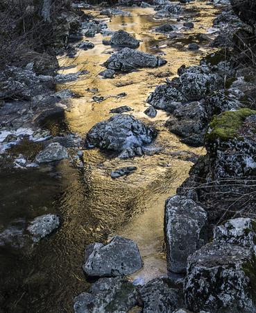 Water stream, with bright colour reflex.