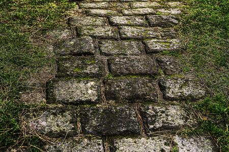 Path laid with bricks leading somewhere. Stok Fotoğraf - 120368690
