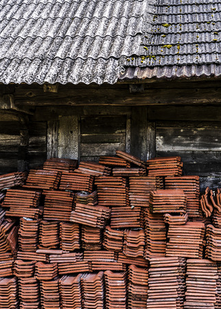 Big pile of older type roof tiles. Stok Fotoğraf - 120368695