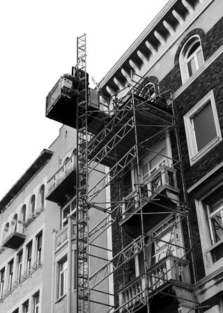 Construction site with small elevator. Stok Fotoğraf