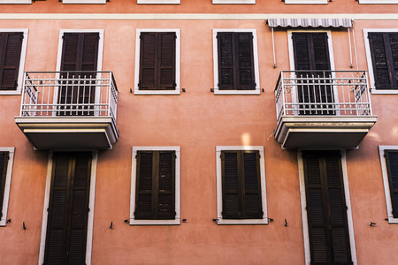 Small apartment rooms with identical balconies. Stok Fotoğraf