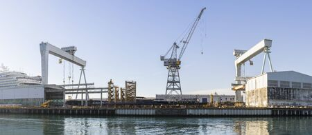 Trieste, Italy, EU - Yanuary 3, 2019: View of shipyard of Monofalcone located in Italy. 新闻类图片