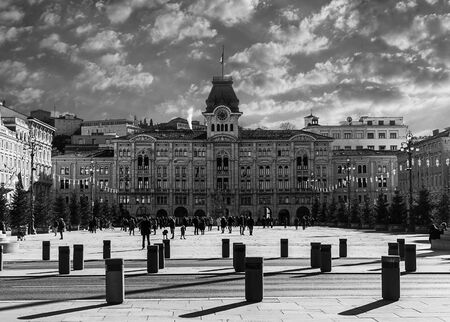 Trieste, Italy, EU - Yanuary 3, 2019: Unity square of Italy located in Trieste. 新闻类图片