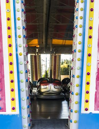 Amusement park bumper cars in a line. Stok Fotoğraf - 120369012