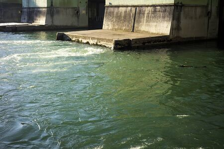 Hydroelectric power generating man made dam located in Dravograd, Slovenia 免版税图像