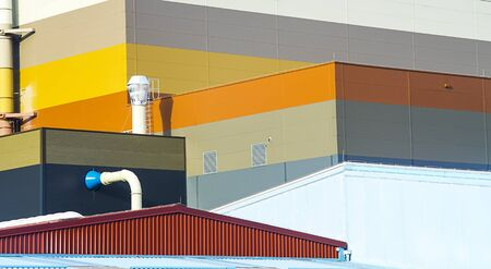 Industrial architecture with colorfull facade detail.