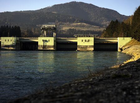 Hydroelectric power generating man made dam located in Dravograd, Slovenia Stok Fotoğraf
