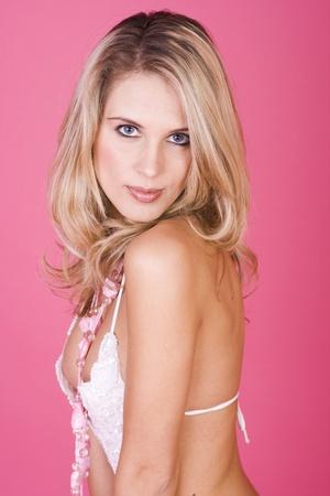 Blonde beautiful lingerie woman portrait Stock Photo