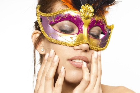 Beautiful sexy woman in venetian mask on white isolated background Stock Photo