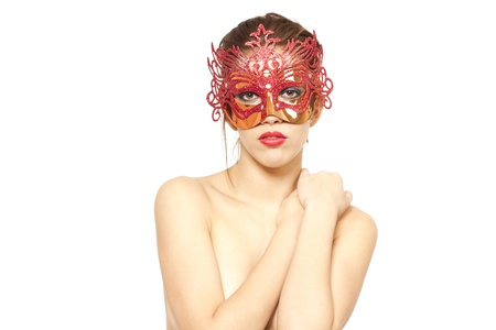 Young woman in red venetian mask on white isolated background Stock Photo - 13009157