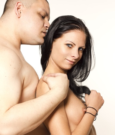 young couple sex: Sexy passion couple on white isolated background