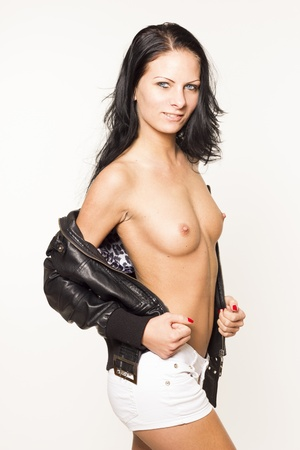 Sexy topless woman in leather jacket on white isolated