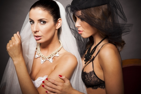 Two sexy lesbian lingerie women wearing weils photo