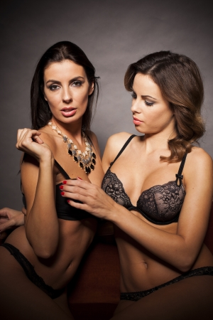 Sexy beautiful lesbian couple hugging in lingerie photo