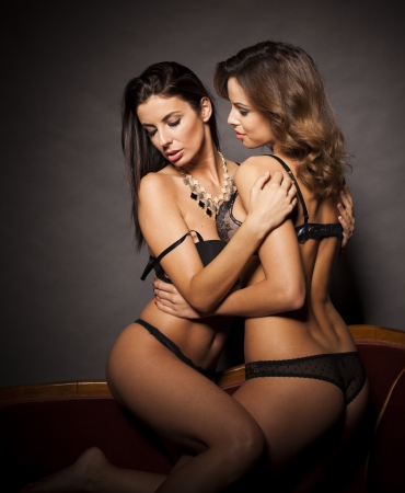 Sexy beautiful lesbian couple hugging in lingerie