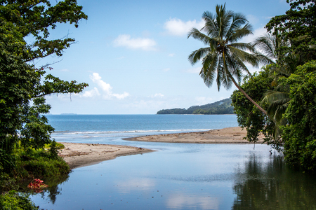 A peaceful lagoon on the island of Bougainville, Papue New Guinea Stock Photo