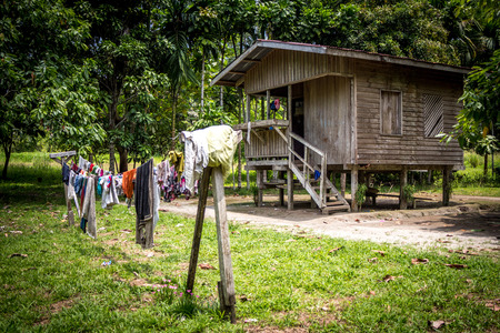 A primitive home and clothesline on the island of Bougainville, Papue New Guinea Imagens