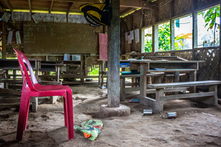 A primitive one room school in a tribal village on the island of Bougainville, Papua New Guinea