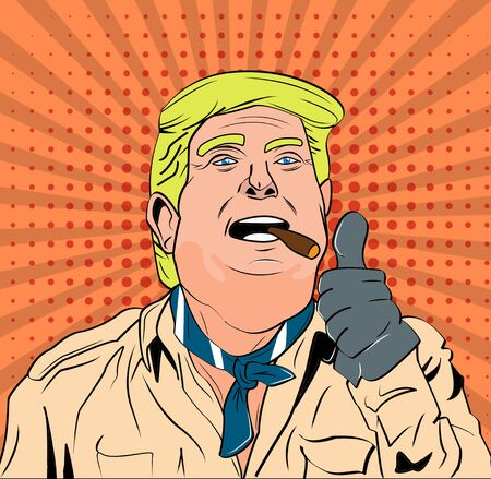 Political Cartoon of Commander in Chief Donald Trump Celebrating a Victory