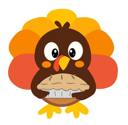 An adorable cartoon turkey brings a pie to Thanksgiving dinner. Imagens