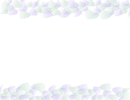Leaves and blue petals bordering on white background Illustration