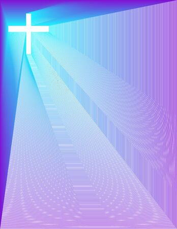 amplified: White Cross on peacock blue purple background
