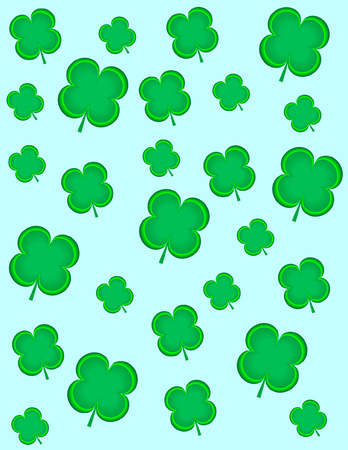 Four Leaf Clovers on a pale blue background Ilustrace