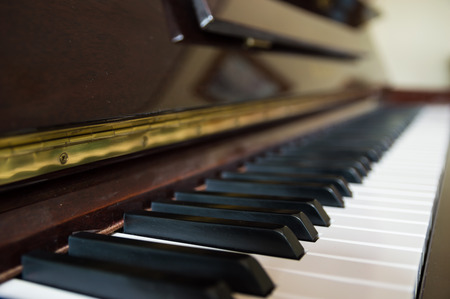 octave: Piano wooden closeup