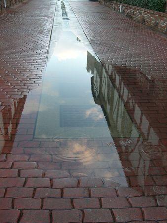 rainy cobblestone Stock Photo