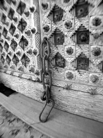 ancient chained door Stock Photo
