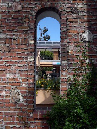 view through the brick window Stock Photo