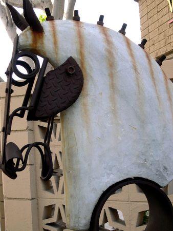 zebra horse sculpture