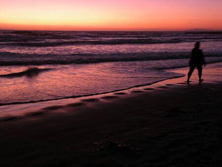 beach walking Stock Photo