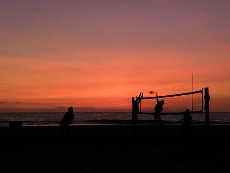 sunset volleyball