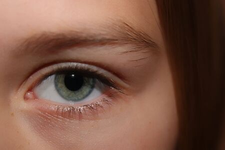close up of a persons left eye 写真素材