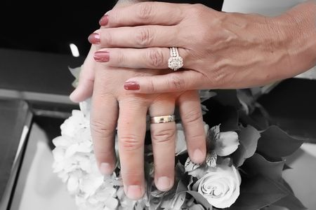 bride and groom hands with rings over the bouquet