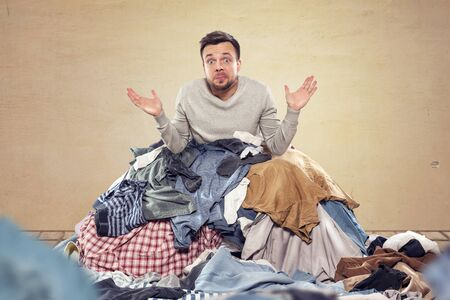 Man overstrained with housekeeping