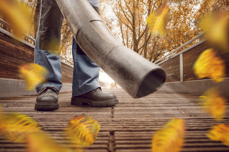 Leaf blower with flying leaves