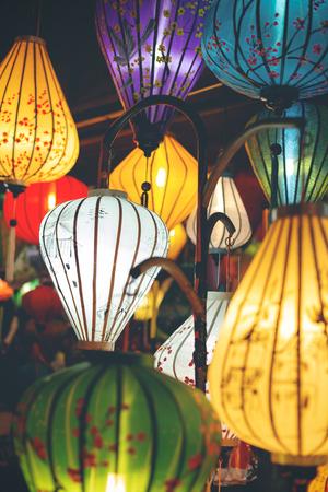 Colorful illuminated lampions in Vietnam