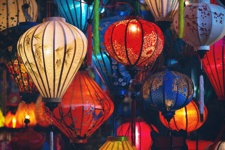 Colorful illuminated lanterns in Vietnam Zdjęcie Seryjne