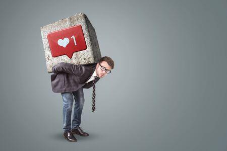 Man under pressure from social media