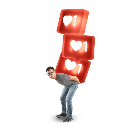 Man carrying a stack of large social media like symbols - isolated on white