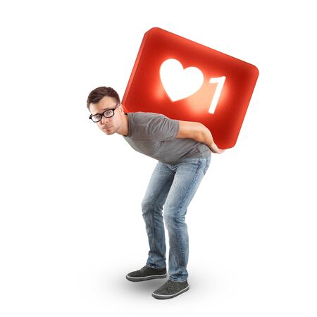 Man carrying a large social media Like Symbol - isolated on white