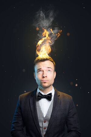 Funny portrait of a man with burning hair Zdjęcie Seryjne