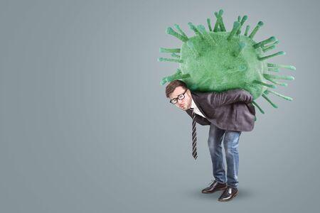 Businessman Burdened By A Virus