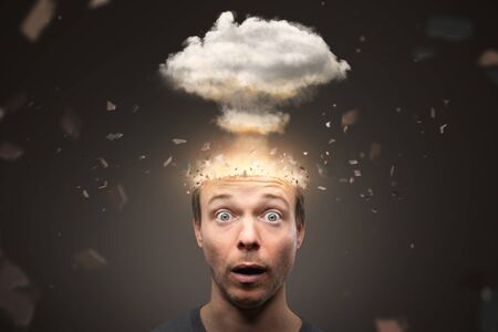 Portrait of a man with an exploding mind 免版税图像