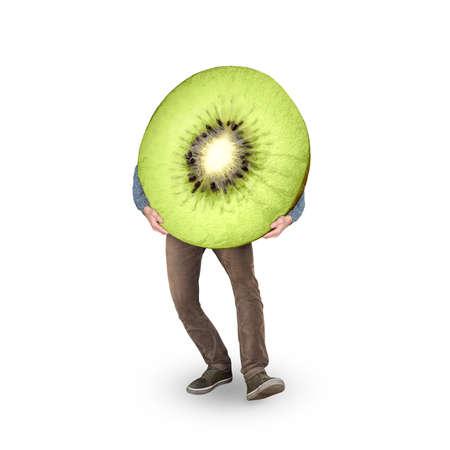 Kiwi fruit on legs isolated on white background