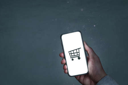 Smartphone screen with a shopping symbol