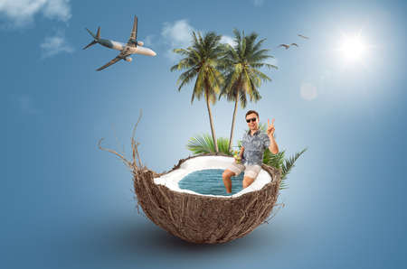 Happy tourist sitting in a coconut - summer vacation collage