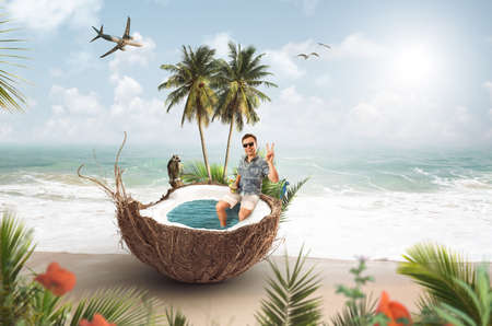 Funny summer vacation collage with a man sitting in a coconut